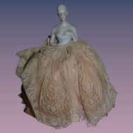 Beautiful Old Doll Half Doll China Head Pincushion Pin Cushion Solid Dome