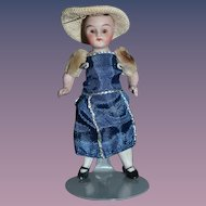 Antique Doll Miniature All Bisque Jointed Glass Eyes Dollhouse Doll