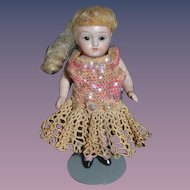 Antique Doll Miniature All Bisque Dollhouse Jointed Glass Eyes