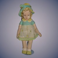 Antique Doll Lenci 300 Series Sweet Old Cloth Felt Doll In Original Costume