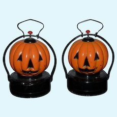 Vintage Miniature Glass Pumpkin Lanterns Doll Size Battery Operated Halloween Jack O Lanterns