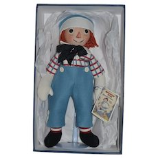 R. John Wright Doll Raggedy Andy From The Raggedy Andy Collection MINT in BOX w/ Papers