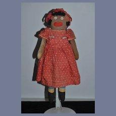 Old Doll Cloth Doll Black Doll Button Eyes Rag Doll Unusual