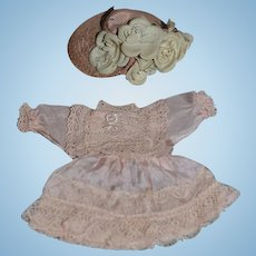 Old Doll Dress Silk and Lace W/ Old Straw Hat For Mignonette Or Small Bisque Doll