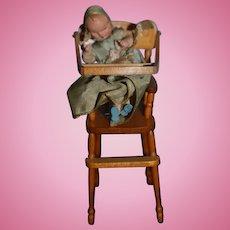 Wonderful Vintage Doll in Artist Wood Miniature Highchair Signed R.L. Carlisle 1972 W/ Doll Dollhouse