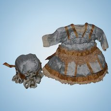 Wonderful Doll Dress and Matching Bonnet For Bisque Doll French??? Gorgeous Hat