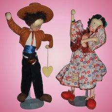 Vintage Doll Cloth Doll Felt Doll Klumpe Dolls Set Spanish Dancers W/ string tag