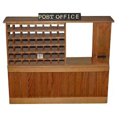 Vintage Doll Artist Wood Post Office Signed W. Dick for Warren Dick Wonderful Detail Miniature Dollhouse