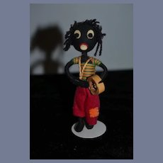 Old Doll Black Golliwog Cloth Doll Miniature Unusual Felt Doll