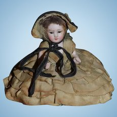 Antique Doll Miniature Bisque Half doll Jointed ALl Bisque Glass Eyes Pincushion Pin Cushion