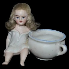 Antique Doll Miniature All Bisque Piano Baby W/ Wig Dollhouse ADORABLE