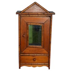 Antique Doll Bamboo Wood Wardrobe For Fashion Doll or China Head Small Size