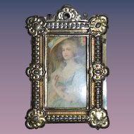 Old Doll Miniature Gold Metal Frame W/ Celluloid Picture of Lady Dollhouse