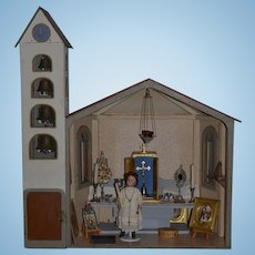 Old Doll Dollhouse Miniature Church W/ Bell Tower W/ French Doll & Miniatures Crucifix Candles Pictures Metal Ware