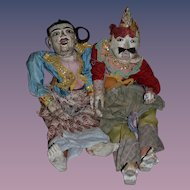 Antique Doll Wood Puppet Marionette Carved Ornate Large Jointed Enamel Eyes Set Pair