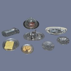 Old Doll Miniature Food Dishes Utensils Covered Dish Pewter Dollhouse