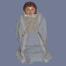 Vintage Wood Doll Unusual Carved Hair Child