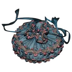 Antique Doll Purse Mirror and Powder Puff For French Fashion