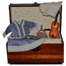 Antique Wood Doll Miniature Trunk W/ Tray and Violin Shirt Skirt  Basket Purse Lace Perfume