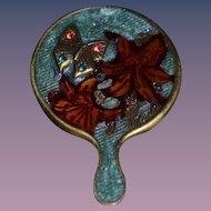 Vintage Doll Miniature Artist Jay Strongwater Hand Held Mirror Enamel Signed