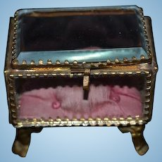 Antique Glass Casket Trinket Box Hinged Miniature Ornate Beveled Glass