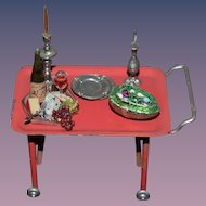 Old Doll Miniature Tin Pull Cart on Wheels with miniatures Dollhouse Food Candles & More