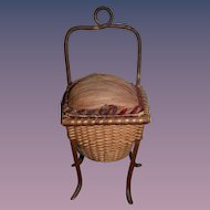 Antique Doll Miniature Sewing Basket Woven on legs For Fashion Doll Opens Chair