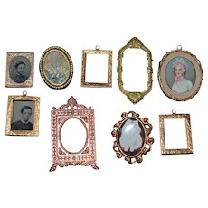 Old Miniature Doll Dollhouse Pictures Frames Ornate HUGE Lot Metal