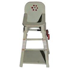 Vintage Doll Miniature High Chair Converts to Chair & Table On wheels Dollhouse highchair