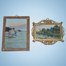 Old Miniature Doll Pictures Frames Dollhouse Charming Ornate