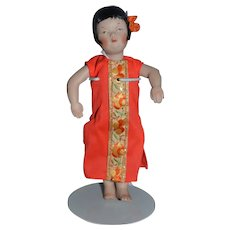 Vintage Doll Artist Doll Oriental Bisque Jointed Signed JUNE JS 1973 NIADA