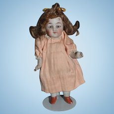 Antique Doll All Bisque Miniature Jointed Glass Eyes Dollhouse