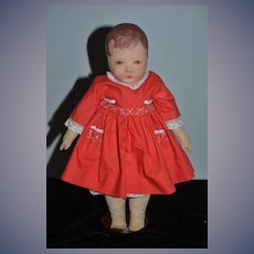 Wonderful Old Oil Cloth Doll Wide Hips Rare Early Model in Petite Size Kathe Kruse Du Mein