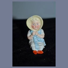 Antique Doll Miniature All Bisque Figurine Piano Baby Girl in Bonnet