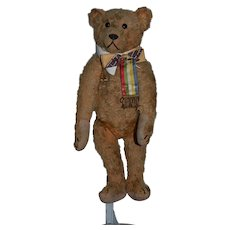 Old Teddy Bear Jointed Mohair A Great Doll Friend Large Button Eyes Bow Tie