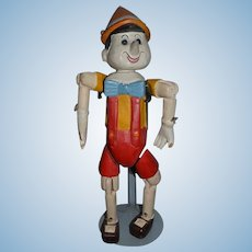 Wonderful Old Pinocchio Wood Carved Jointed Unusual Doll Character