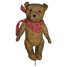 Old Teddy Bear Doll Friend Mohair Jointed Pouty Bear Leather Paws