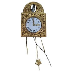 Old Doll Miniature Metal Wall Clock for Dollhouse W/ Miniature Metal Bird Cuckoo