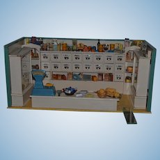 Antique German Wood & Glass Doll Miniature Large Grocery Store PACKED w/ Miniatures Dollhouse Scales Food Porcelain handles