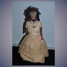 Old Doll Stockinette Black Cloth Rag Doll Over Glass Very Unusual