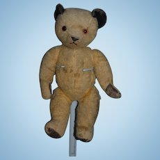 Old Teddy Bear Jointed Mohair Leather Paws Black Ears Sweet Face!
