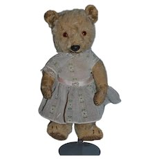 Old Teddy Bear Jointed Mohair W/ Wind Up Mechanism Adorable SO SWEET! Plays Music