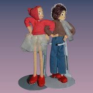 Vintage Doll Set Girl Boy Miniature Cloth Dollhouse Couple