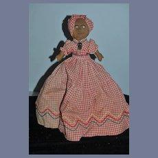 Old Unusual Black Cloth Doll Half Doll Sewn Features Folk Art W/ Black Face Brooch