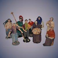 Old Doll Lot Miniature Cloth Dolls Terra-Cotta Character NINE DOLLS Unusual Folk Art