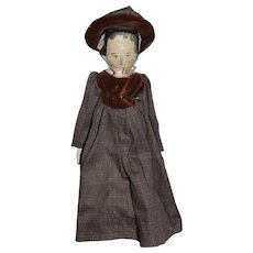 Old Wood Doll Grodnertal Jointed Carved Wood Fancy outfit