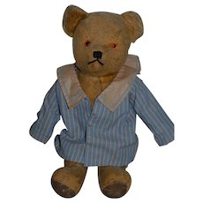 Old Teddy Bear Jointed Leather Paws Dressed!!