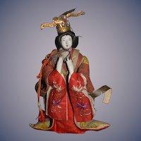 Old Oriental Doll Warrior  Lady w/ Head Piece & Old Costume