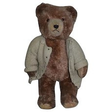 Old Teddy Bear Mohair Jointed Talking Bear Pull String