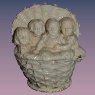 Old Basket of Babies Dolls Children Vase Figurine SWEET!